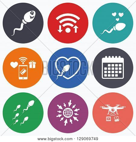 Wifi, mobile payments and drones icons. Sperm icons. Fertilization or insemination signs. Safe love heart symbol. Calendar symbol.
