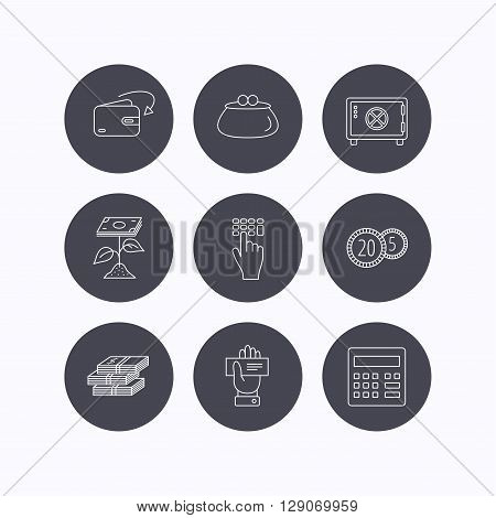 Cash money, safe box and calculator icons. Safe box, cheque and dollar usd linear signs. Profit investment, wallet and coins icons. Flat icons in circle buttons on white background. Vector