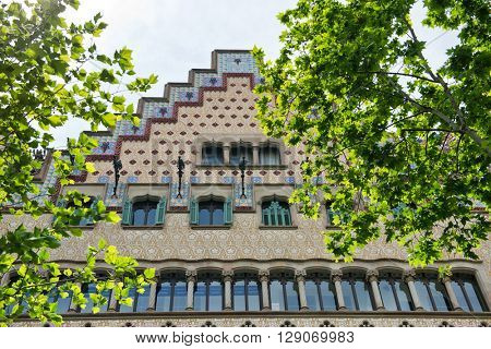 BARCELONA -  MAY 01: Details of the facade of art noveau houses in Barcelona. May 01, 2015 in Barcelona, Spain