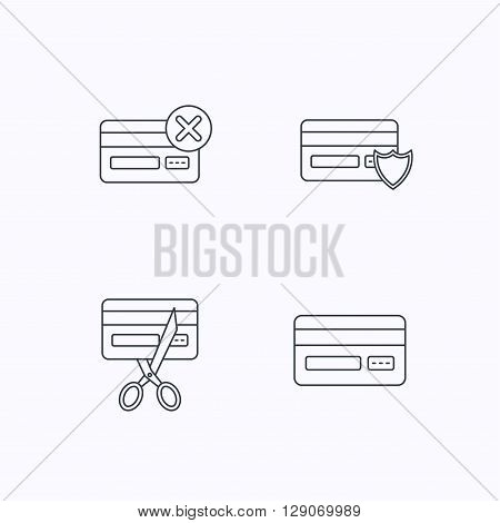 Bank credit card icons. Banking, protection and expired debit card linear signs. Flat linear icons on white background. Vector