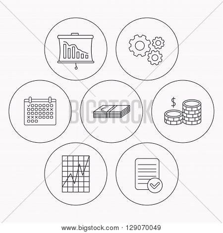 Chart, cash money and statistics icons. Coins linear sign. Check file, calendar and cogwheel icons. Vector