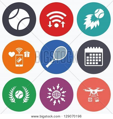 Wifi, mobile payments and drones icons. Tennis ball and racket icons. Fast fireball sign. Sport laurel wreath winner award symbol. Calendar symbol.
