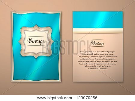 Vector Brochure Flyer royal design Layout template size A5. Gold frame. Front page and back page. Easy to use and edit.