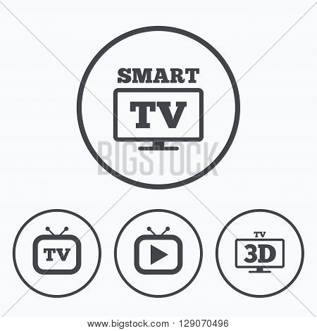 Smart 3D TV mode icon. Widescreen symbol. Retro television and TV table signs. Icons in circles.