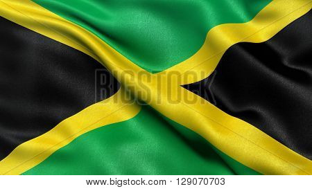 Flag of Jamaica waving in the wind. 3D illustration.