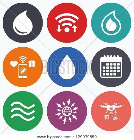 Wifi, mobile payments and drones icons. Water drop icons. Tear or Oil drop symbols. Calendar symbol.
