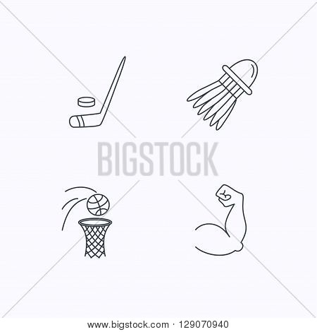 Ice hockey, basketball and badminton icons. Biceps linear sign. Flat linear icons on white background. Vector