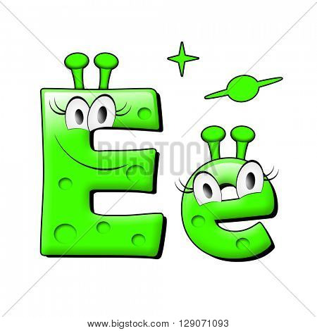 Funny alien alphabet. 3d illustration.