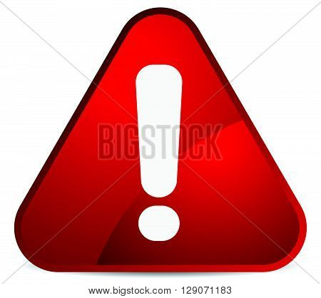 Cartoon Like Rounded Warning, Attention Sign With Exclamation Mark. Triangle Road Sign