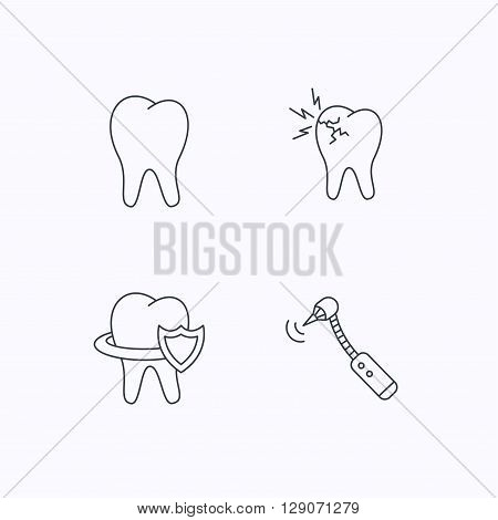 Tooth, toothache and drilling tool icons. Teeth protection linear sign. Flat linear icons on white background. Vector
