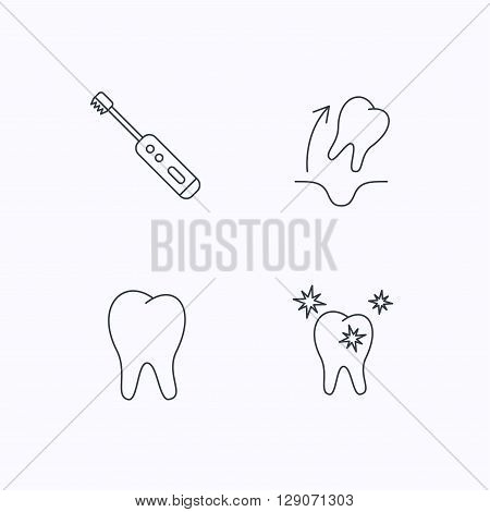 Tooth extraction, electric toothbrush icons. Healthy teeth linear sign. Flat linear icons on white background. Vector