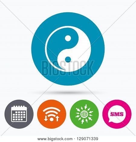 Wifi, Sms and calendar icons. Ying yang sign icon. Harmony and balance symbol. Go to web globe.