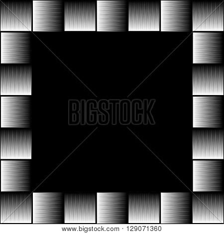 Square Format Photo, Picture Frame With Mosaic Of Lines.