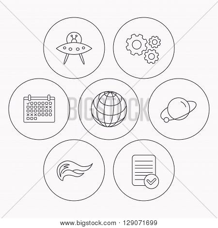 Ufo, planet and fire flame icons. Globe linear sign. Check file, calendar and cogwheel icons. Vector