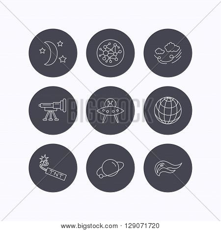 Ufo, planet and telescope icons. World, global network and night linear signs. TNT dynamite, fire flame and wind flat line icons. Flat icons in circle buttons on white background. Vector
