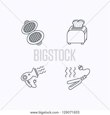 Curling iron, hair-dryer and toaster icons. Waffle-iron linear sign. Flat linear icons on white background. Vector