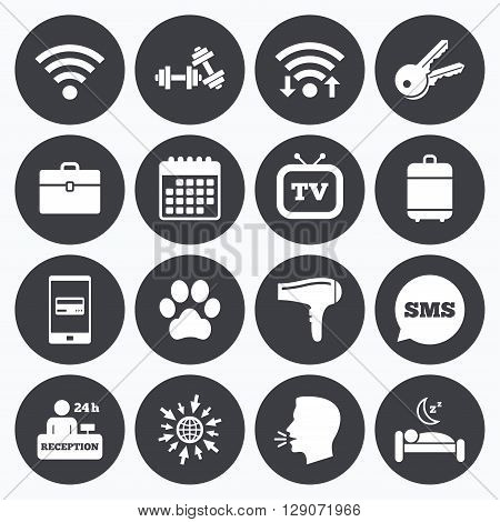Wifi, calendar and mobile payments. Hotel, apartment service icons. Wi-fi internet. Reception, pets allowed and hairdryer symbols. Sms speech bubble, go to web symbols.