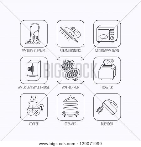 Microwave oven, coffee and blender icons. Refrigerator fridge, steamer and toaster linear signs. Vacuum cleaner, ironing and waffle-iron icons. Flat linear icons in squares on white background. Vector