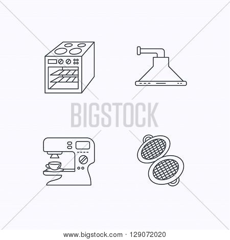 Waffle-iron, coffee maker and oven icons. Kitchen hood linear sign. Flat linear icons on white background. Vector