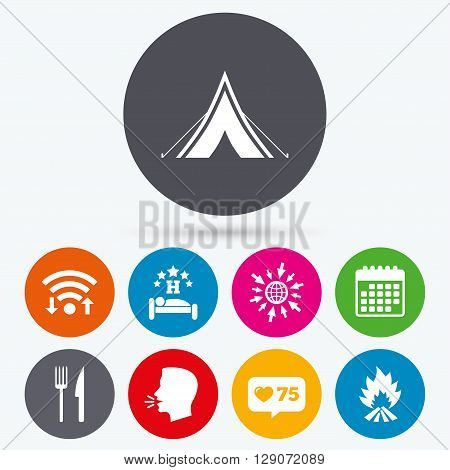 Wifi, like counter and calendar icons. Food, sleep, camping tent and fire icons. Knife and fork. Hotel or bed and breakfast. Road signs. Human talk, go to web.