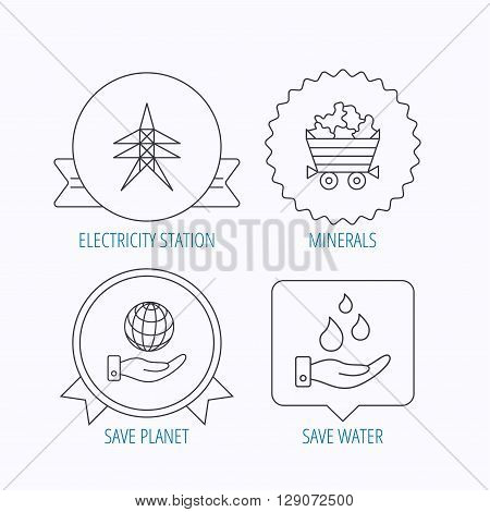 Save water, planet and electricity station icons. Minerals linear sign. Award medal, star label and speech bubble designs. Vector