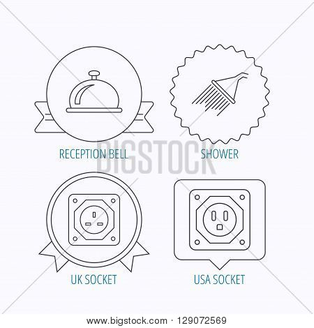 Shower, UK socket and USA socket icons. Reception bell linear sign. Award medal, star label and speech bubble designs. Vector