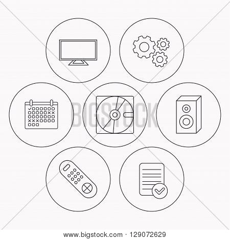 Sound, TV remote and hard disk icons. Widescreen TV linear sign. Check file, calendar and cogwheel icons. Vector
