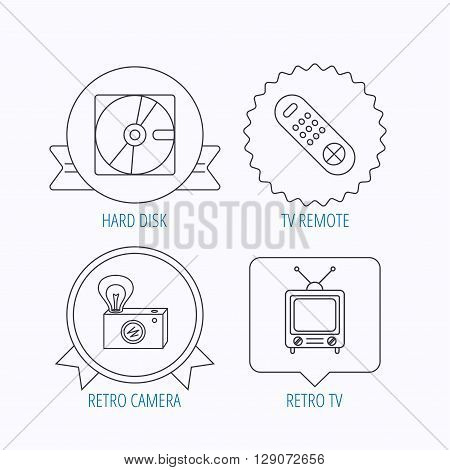 Hard disk, retro camera and TV remote icons. Vintage TV linear sign. Award medal, star label and speech bubble designs. Vector
