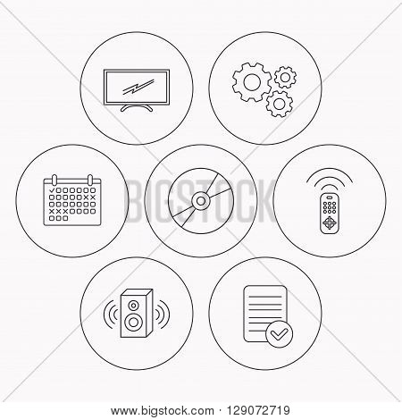 TV remote, sound and DVD disc icons. Widescreen TV linear sign. Check file, calendar and cogwheel icons. Vector