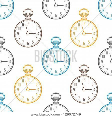 Pocket watch. Seamless pattern with clocks on white background. Vector illustration