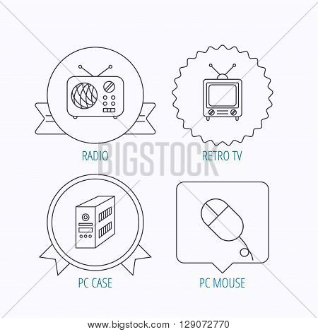 Radio, retro TV and PC mouse icons. PC case linear sign. Award medal, star label and speech bubble designs. Vector