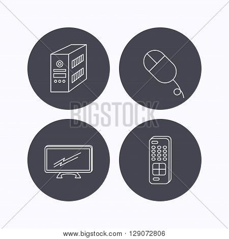 PC mouse, TV remote and computer icons. Widescreen TV linear sign. Flat icons in circle buttons on white background. Vector