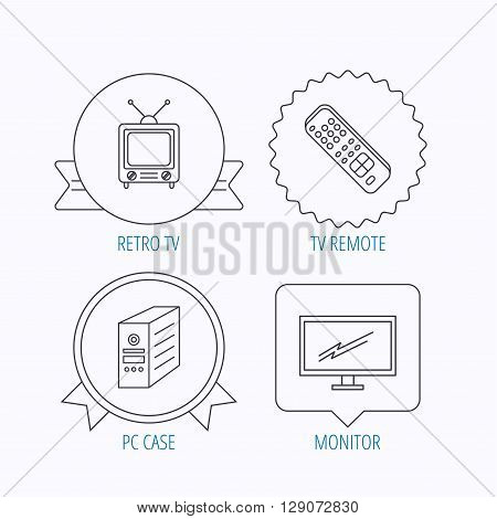 Retro TV, monitor and pc case icons. TV remote linear sign. Award medal, star label and speech bubble designs. Vector