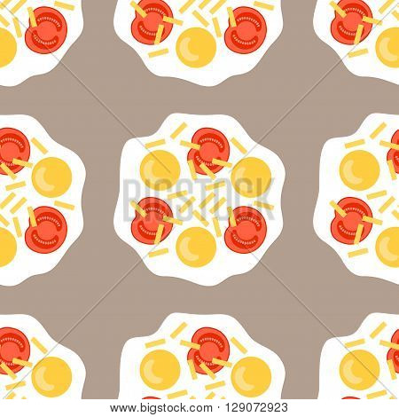 Scrambled eggs. Seamless pattern with fried eggs and cheese. Vector illustration