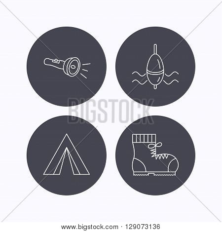Flashlight, fishing float and hiking boots. Camping tent linear sign. Flat icons in circle buttons on white background. Vector