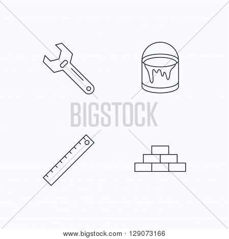 Brickwork, measurement and adjustable wrench icons. Bucket of paint linear sign. Flat linear icons on white background. Vector