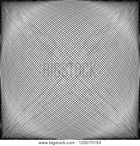 Spherical, Globular Intersecting Lines. Grid, Mesh With Convex Distortion
