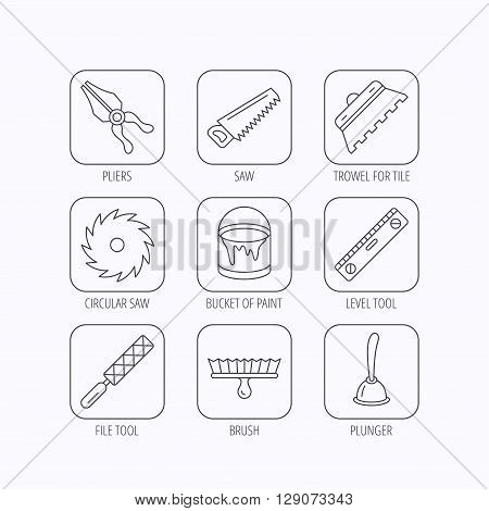 Trowel for tile, saw and brush tool icons. Level and file tool, bucket of paint linear signs. Plunger, pliers icons. Flat linear icons in squares on white background. Vector