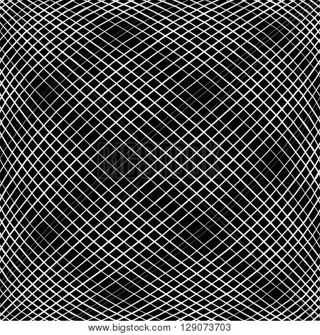 Grid, Mesh, Intersecting Lines Pattern With Convex Distortion. Lines Are Irregular.