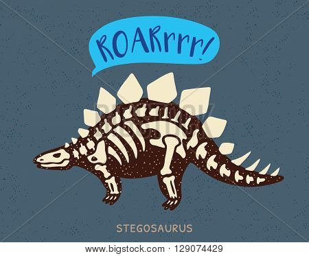 Cartoon card with a stegosaurus skeleton and text Roar. Fossil of a Stegosaurus dinosaur skeleton. Cute dinosaur on blue background
