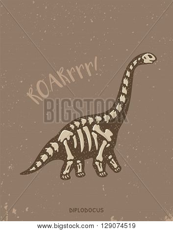 Cartoon card with a diplodocus skeleton and text Roar. Fossil of a diplodocus dinosaur skeleton. Cute dinosaur on brown background on blue background