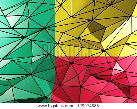 Triangle Background With Flag Of Benin. 3D Illustration