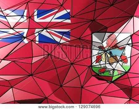 Triangle Background With Flag Of Bermuda. 3D Illustration