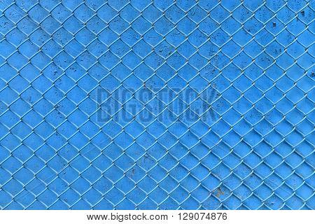 blue fence metal braiding net background texture