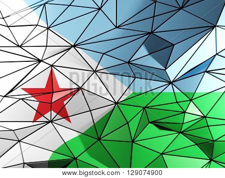 Triangle Background With Flag Of Djibouti. 3D Illustration