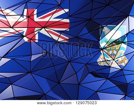 Triangle Background With Flag Of Falkland Islands. 3D Illustration
