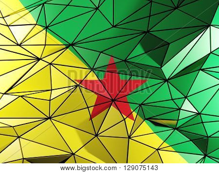 Triangle Background With Flag Of French Guiana. 3D Illustration