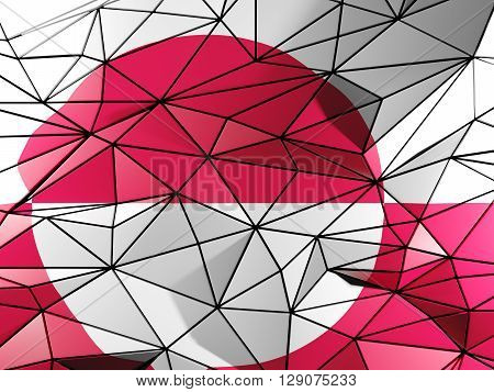 Triangle Background With Flag Of Greenland. 3D Illustration