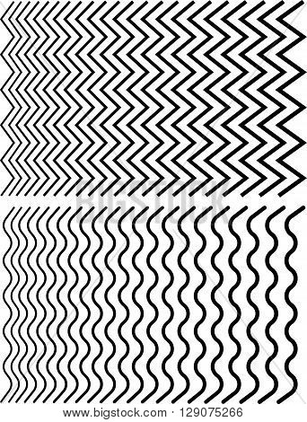 Irregular Lines. Set Of Distorted Lines From Thin To Thick.