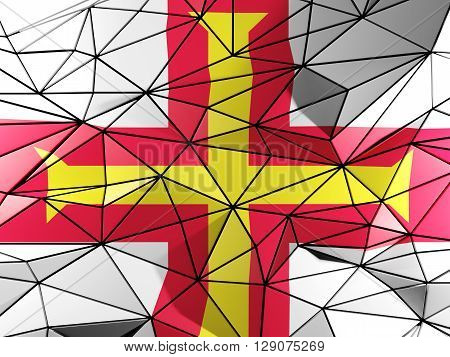 Triangle Background With Flag Of Guernsey. 3D Illustration
